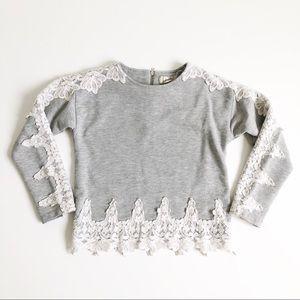 Peek Embroidered Sweatshirt Top